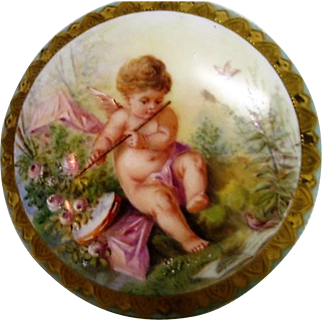 Hand Painted Dresden Round Porcelain Cherub Decorated Large Trinket Box