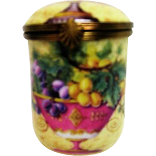 Hand Painted Tall Limoges Porcelain Trinket Box Fruit Decorated