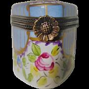 Hand Painted Limoges Triangular Shaped Porcelain Trinket Box