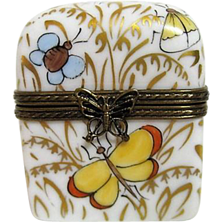 Hand Painted Limoges Porcelain Trinket Box with Perfume Bottles Butterfly Decorated