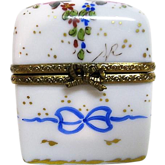 Hand Painted Limoges Porcelain Trinket Box with two Cobalt Blue Perfumes