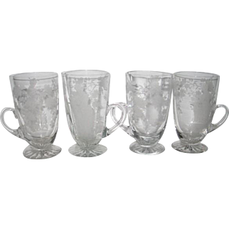 Four Fry Elegant Footed Handled Japanese Maiden Ice Tea Goblets