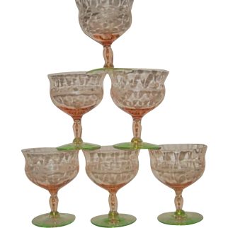 Six Fry Elegant Depression Glass Watermelon Footed Etched Sherbets