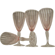 Four Fry Pink Twisted Stem Elegant Depression Glass Water Goblets