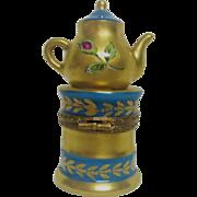 Hand Painted Limoges Tea Pot Porcelain Trinket Box