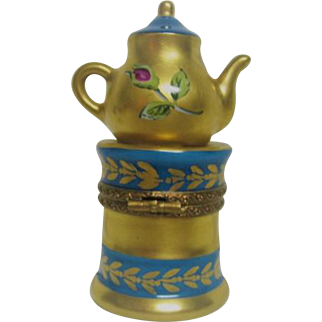 Hand Painted Limoges Tea Pot Porcelain Trinket Box