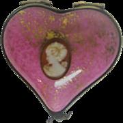 Hand Painted Heart Shaped Pink Limoges Porcelain Trinket Box
