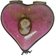 Hand Painted Heart Shaped Pink Limoges Porcelain Trinket Box