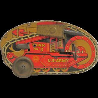 Marx Vintage Tin Key Wound Turn Over Tank #3