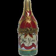 Hand Painted Limoges Champagne Bottle Porcelain Trinket Box