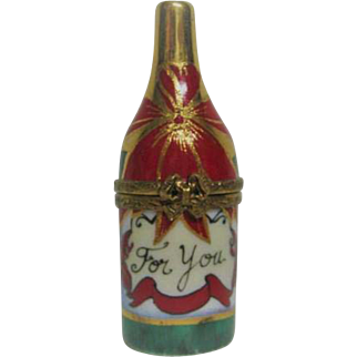 Hand Painted Limoges Champagne Bottle Porcelain Trinket Box