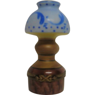 Hand Painted Limoges Oil Lamp Porcelain Trinket Box