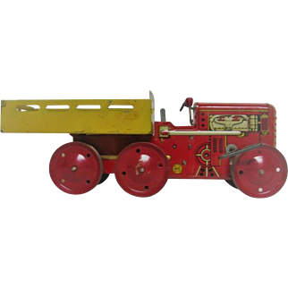 Metal Tin Litho Marx Wind Up Tractor Toy