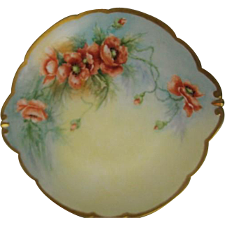 Hand Painted Limoges Two Handled Cake Plate Poppy Design