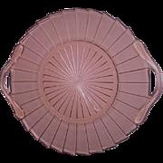 Pink Two Handled Sierra Pinwheel Depression Glass Tray