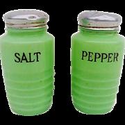Vintage Jadeite Ribbed Salt and Pepper Shakers