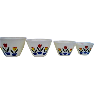 Complete set of four (4) Fire King Tulip Decorated Mixing Bowls
