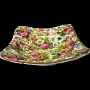 Vintage Royal Winton Summertime Chintz Square Shaped Berry Bowl