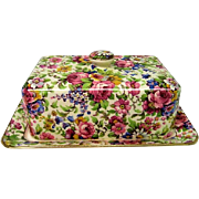Vintage Royal Winton Summertime Chintz Covered Butter Dish