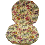 Four Vintage Lord Nelson Heather Chintz Salad Plates