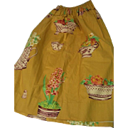 Stunning Vintage Lined Furniture or Sink Skirt with Elastic gathered top.