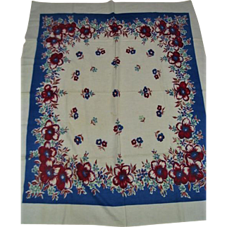 Vintage Print 1950 Blue and Wine Floral Tablecloth
