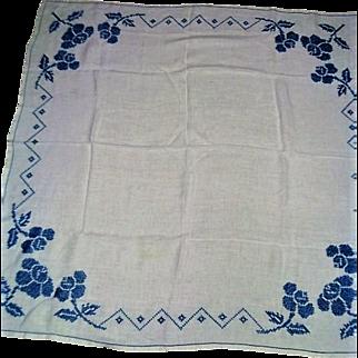 Vintage Cotton Blue Floral Cross Stitched Tablecloth