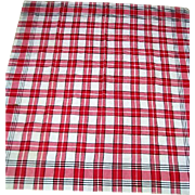 Vintage Red and White Checked Cotton Tablecloth