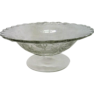Fostoria Footed Crystal Large Bowl with Heather Pattern