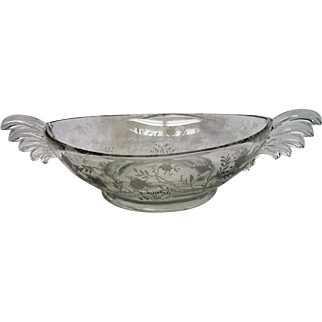 Fostoria Two Handled Oval Shaped Chintz Bowl on Baroque Blank
