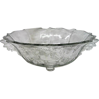 Fostoria Crystal Footed Chintz Bowl is decorated on a Baroque Blank
