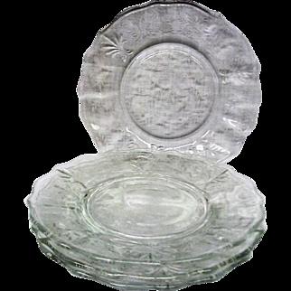 Four Fostoria Crystal Chintz Decorated Plates