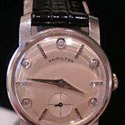 1950 Hamilton 14K Gold Diamond Dial Signed Casino Wrist Watch