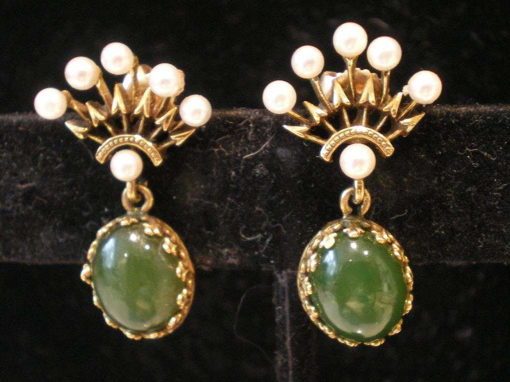 50's 14k Gold Jade Cultured Pearls Dangle Drop Pierced  Earrings