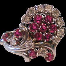 Ruby Diamond Retro c1950 14K White Gold Ring Size 6 ½