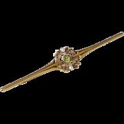 C1905 Nouveau 15K Gold Signed Peridot Natural Pearl Bar Pin Measures 3 ¼ Inch