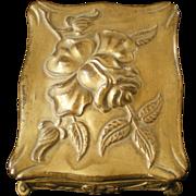 Art Nouveau Rose Repousse Metal Pocket Watch Safe Case Box