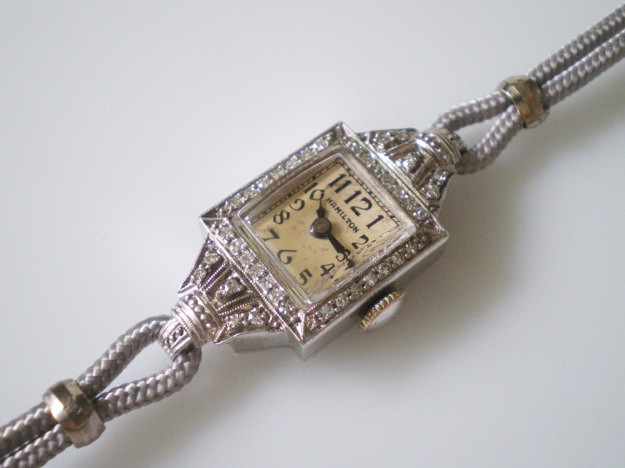 Art deco platinum hamilton diamond wrist watch excellent for Minimal art wrist watch