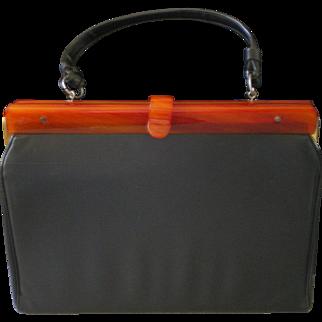 1940/50 Vintage Bakelite Trim Black Kelly Style Bag Purse