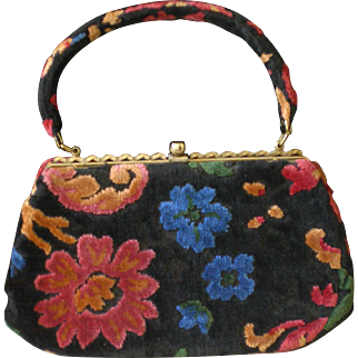 Vintage 1940/50  Chenille Tapestry Bag Purse Perfect Condition