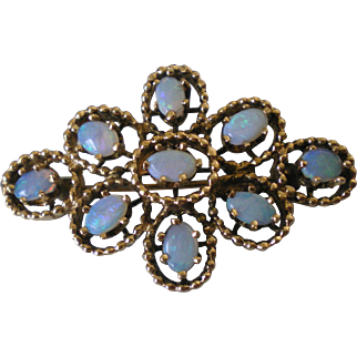 Vintage 14K Solid Gold Opal Pin Brooch Perfect Condition