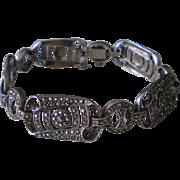 Vintage Marcasite Sterling Silver Bracelet  8 inch