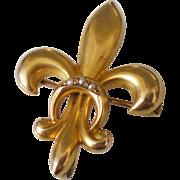 Antique Fleur De Lis 10k Solid Gold Pearl Watch Pin