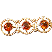 Vintage Gold c1940 Citrine Bar Pin Three 6 mm Beautiful Color 2.58 Total Gem Weight