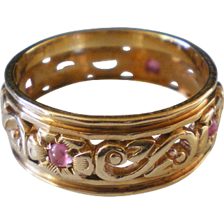 c1940 Ruby 14K Yellow Gold Carved  Ring  Size 6 1/2