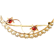 14K Victorian Natural Pearl  Moon & Stars Pin Early C Clasp
