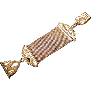 Antique Victorian Mesh Watch Fob Gold Plated Original Condition