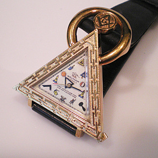 1950's Waltham Masonic Wrist Watch Keeping Time