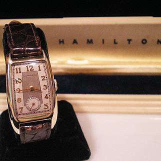 1938 Rare  Hamilton Brooke 17 Jewel Asymmetrical Case Wrist Watch