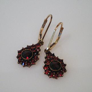 Vintage Garnet Rose Cut Earrings Pierced Style Excellent Condition